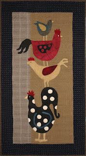 wall decor, polka dots, craft, quilt design, wool applique, quilt blocks, rooster, quilted wall hangings, geoff mom