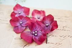 Flower Bobby Pins 5 pcs Fuchsia Hydrangea with by BelleBlooms