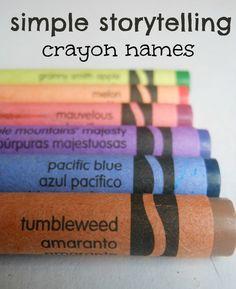 Simple storytelling activity using crayon names