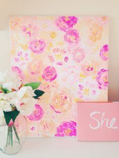 bloom 16x20 abstract painting by ShelbyRevisArt on Etsy, $125.00