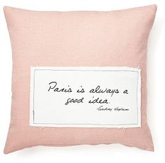 "Hepburn ""Paris"" 20x20 Pillow, Pink on shopstyle.com"