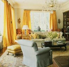 golden pop color - bright yellow curtains are so cheery :)