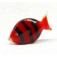 red and black murano glass fish