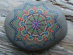 Hand Painted/Beach Stone/Mandala/Lake Erie