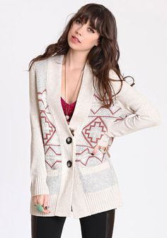 The best time to wear an Aztec Pattern cardigan is all the time.