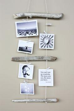 DIY: driftwood photo display.