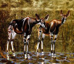1923 1990 André Margat, Deux okapis, Two okapis | Animal art