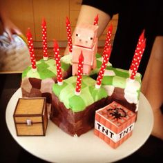 Minecraft cake with paper craft decorations