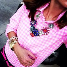 pink and statement necklace