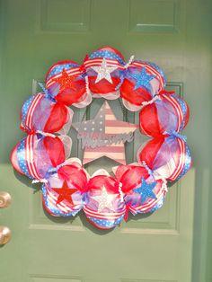 Custom Patriotic Mesh Wreath