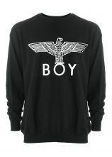 #SheInside  Black Long Sleeve Eagle BOY Print Sweatshirt
