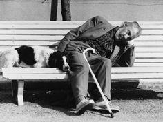 sleeping man and dog - france 1977