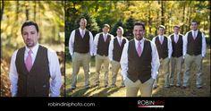 country wedding, fall wedding, groomsmen, brown vests, red ties, khaki pants, wedding photography, groom, wedding portrait