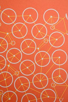 bicycle graphic, orang, wheel, bike graphic design, pattern design, bike graphics, bicycle print, bike art, illustrated bicycles