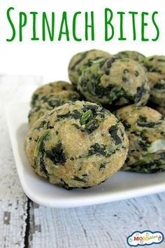 Spinach Bites via MOMables.com will be the perfect way to get your picky eaters to eat spinach!