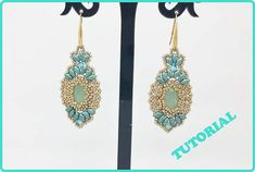 Be my bride earrings pattern with swarovski, superduo and seed beads. How to make earrings