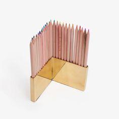 Brass Colored Pencils Holder Set