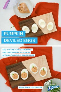 These pumpkin deviled eggs make the perfect appetizer for Halloween or Thanksgiving! Get the bright orange color by mixing egg yolks with ketchup, paprika, and mayo. Spoon the filling into a Ziploc?? bag for easy piping. Then, trim a tiny piece of chive for the stem and serve! Such an easy, holiday recipe.