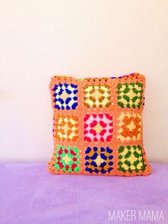 Brightly colored DIY crochet pillow - with no crochet skills required!