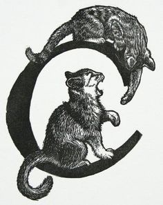 "Mirka Hokkanen - ""C is for Cats"" - Wood engraving"