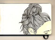 gorgeous moleskine illustrations by firstladypatate #illustrations #firstladypatate #hair