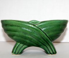 Vintage Deco Green Planter Footed Oval Pottery Plant Dish Glazed Art Bowl MADE in the USA Hull
