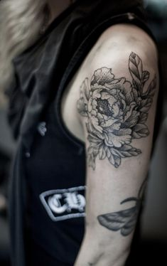 black and white flower tattoo