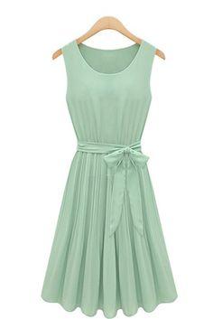 Sleeveless Mint Chiffon Mini Dress