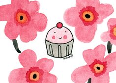 Classic Floral Print with Cupcake
