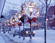 winter snow, christmas wreaths, christmas time, christmas decorations, christmas lights