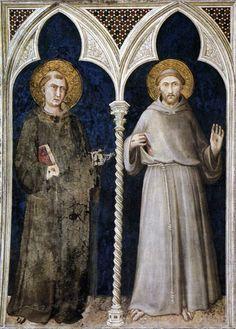 St Anthony of Padua and St Francis  1317  Fresco, 215 x 185 cm  Cappella di San Martino, Lower Church, San Francesco, Assisi.SIMONE MARTINI  Italian painter, Sienese school (b. 1280/85, Siena, d. 1344, Avignon)