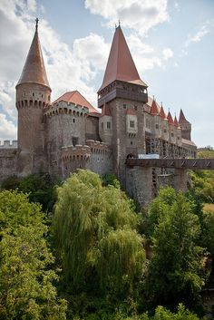 The greatest Gothic-style castle in Romania, Hunyad, aka. Corvinesti castle was built by the Anjou family on the site of a former Roman camp.