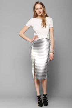BDG Stripe Fitted Midi Skirt - Urban Outfitters