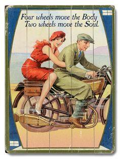 Vintage Motorcycle Wood Sign