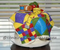 Coolest Quilting Cake Ever!... a homemade arts and crafts theme cake idea.
