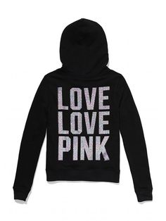 perfect zip, victoria secrets, bling pink, victoria secret pink, zip hoodi, bling perfect, christma list, pink bling, loung fave