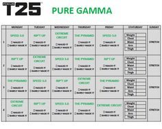 photo relating to T25 Printable Calendar named t25 gamma work out routine