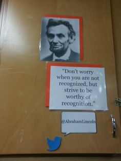 Middle School Classroom Locker Decoration: Inspirational People with Quote Abraham Lincoln (Technology Twitter Theme)