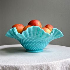 Turquoise Blue Milk Glass Bowl by Fenton with Hobnail Pattern, 1950s