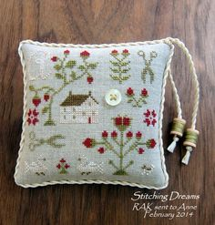 """With Thy Needle and Thread """"Valentine Sampler"""" pinkeep"""