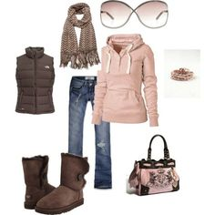 What a cute pink outfit accentuated by a great pair of UGG Bailey Button in Chocolate! Love!