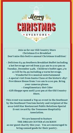 Visit the Old Country Store Christmas Eve Breakfast from 5:30 am until 2:00 pm.  (The store remains open until 3:00 pm for last minute shopping.)  Don't miss this festive annual Christmas tradition!    Visit http://events.caseyjonesbulletin.com/?ci=23323 to learn more.