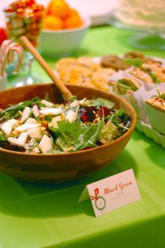 green salads, christma parti, grinch parti, pear