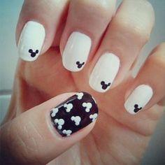 Mickey Mouse nail art! #nails #art #fun #fashion #creative #disney #design #black and #white #combo #namshi