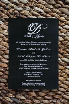 Black and White Wedding or Shower Invitation with Modern Monogram