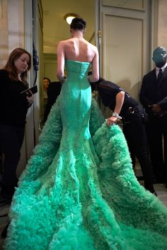 ♥ fashion, georg hobeika, emerald, color, dresses, green dress, gown, haute couture, georges hobeika