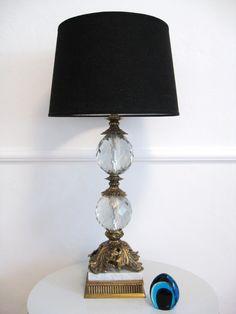 60s Hollywood Regency CRYSTAL BALL Vintage Lamp. $150.00, via Etsy.