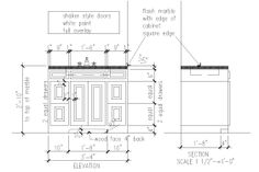 """Basic shop drawing for simple bath vanity cabinet showing all details.  This image shows both a front """"elevation"""" and a side """"section"""".  The only thing it does not show is the """"plan"""" view--which is on a separate page.  For most cabinet projects, if we have an accurate plan view, front elevation, and side section, we can built it quickly and accurately.  (drawing by Irini Kotelou / Custom Cabinets Houston)"""