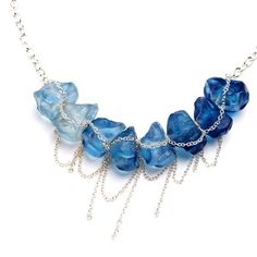 Blue Resin Stone Necklace.