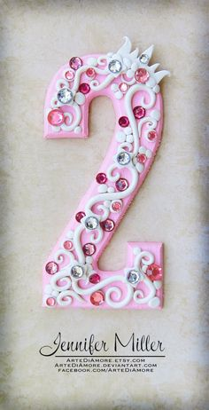 Pink Princess Number Birthday Cake Topper by ArteDiAmore on Etsy, $26.00